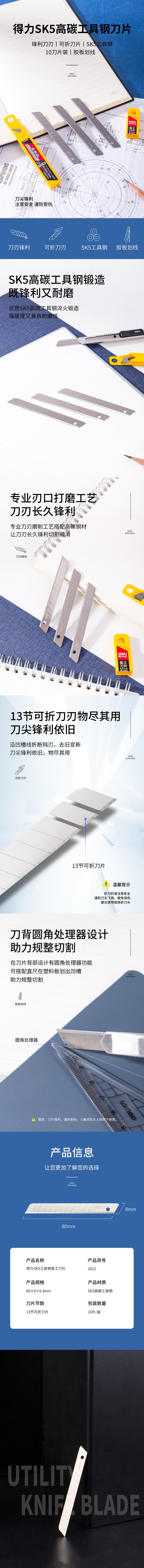 VWIN真人2012小号美工刀片(银色)(10片/盒)