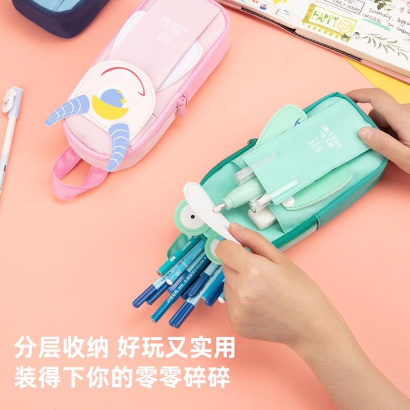 得力67098小饿魔书包形多用途笔袋蓝色(粉色)(只)
