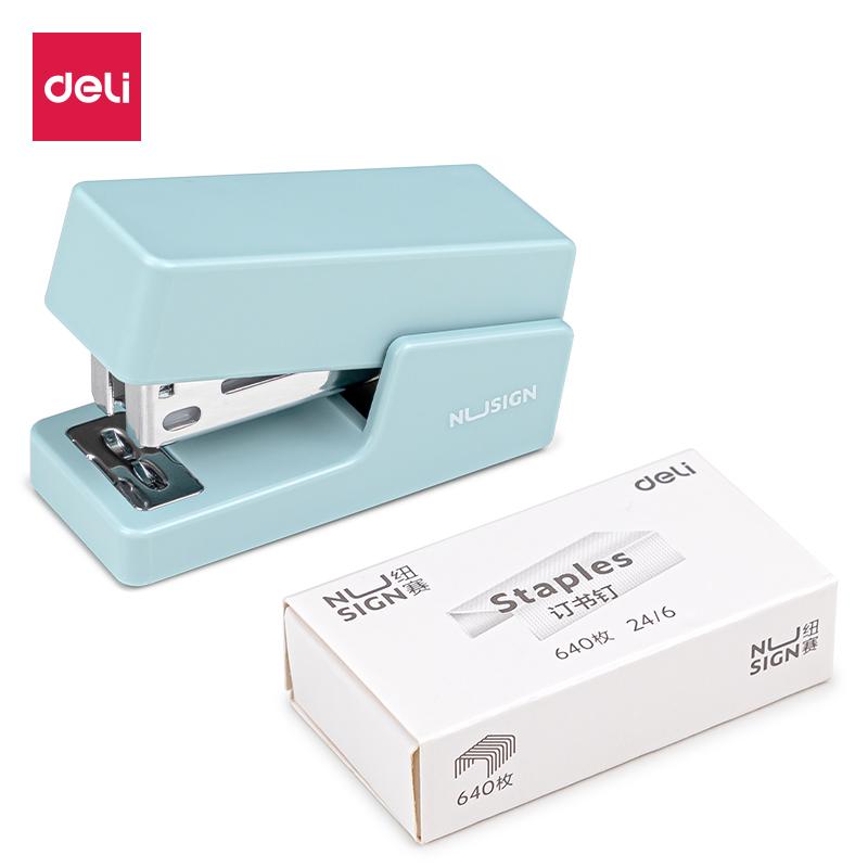 得力NS083订书机(浅蓝)(1台订书机+1盒钉)