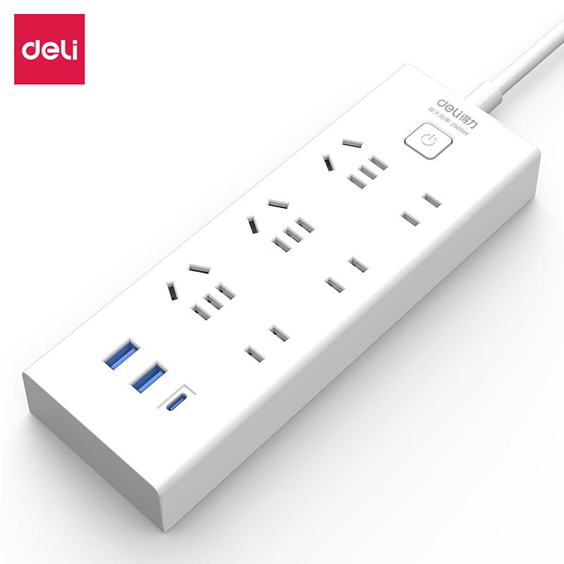 得力18289延长线插座_3+3+3U_2米_彩盒装(白)(只)