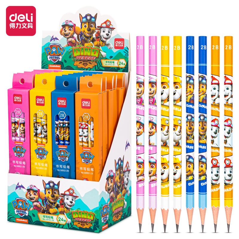 得力58192-2B_汪汪队主题8支彩盒装2B铅笔(混)(8支/盒)