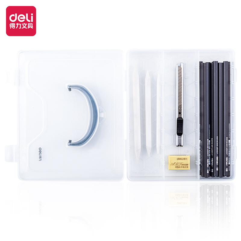 得力58211素描铅笔25件PP盒套装(混)(25件套/盒)
