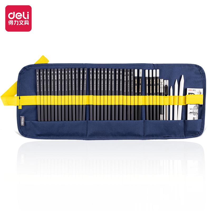 得力58212素描铅笔40件笔帘套装(混)(40件套/盒)